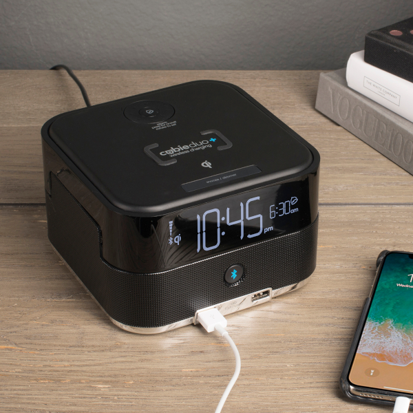 The Brandstand CubieDuo+ is a unique alarm clock that features the best of both charging worlds – 2x USB charging ports, plus Qi Wireless charging where supported.